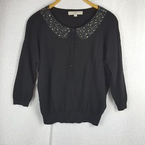 ANN TAYLOR LOFT Beaded Collar Black Cardigan